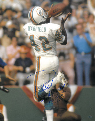 Paul Warfield signed Miami Dolphins 16X20 Photo HOF 83 (over the shoulder catch) PSM-Powers Sports Memorabilia