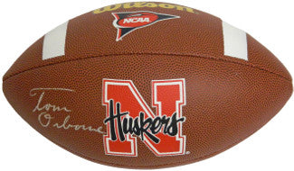 Tom Osborne signed NCAA Nebraska Cornhuskers Wilson Replica Composite Football PSM-Powers Sports Memorabilia