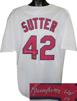 Bruce Sutter signed White TB Custom Stitched Baseball Jersey HOF 06 XL PSM-Powers Sports Memorabilia
