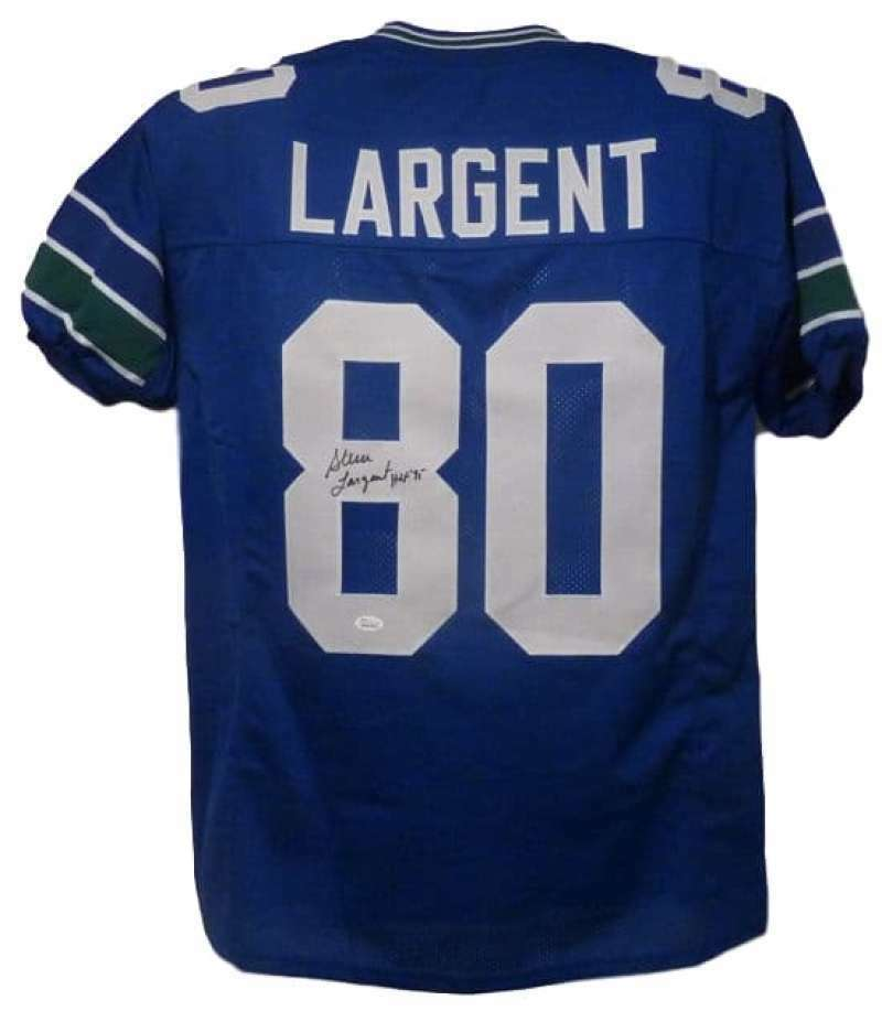Steve Largent Autographed Seattle Seahawks Custom Size XL Blue Jersey HOF JSA PSM-Powers Sports Memorabilia