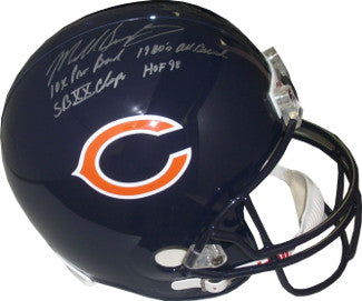 Mike Singletary signed Chicago Bears FS Rep Helmet 4 stat HOF 98/10X Pro Bowl/SBXX Champs/80's All Decade- JSA Holo PSM-Powers Sports Memorabilia