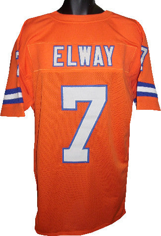 official photos 5ffd6 9b355 John Elway unsigned Orange TB Custom Stitched Pro Style Football Jersey XL  PSM