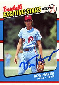 Von Hayes Autographed / Signed 1987 Fleer No.23 of 44 Philadelphia Phillies Baseball Card PSM-Powers Sports Memorabilia