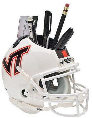 Virginia Tech Hokies White with Stripe NCAA Football Schutt Mini Helmet Desk Caddy PSM-Powers Sports Memorabilia
