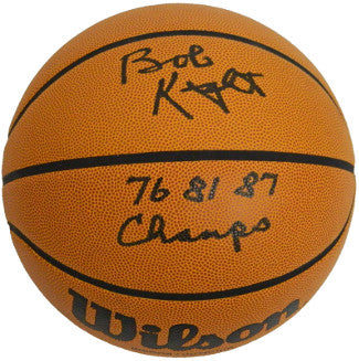 Bobby Knight signed NCAA Wilson Indoor/Outdoor Basketball 76 81 87 Champs- PSA Hologram (Indiana Hoosiers) PSM-Powers Sports Memorabilia