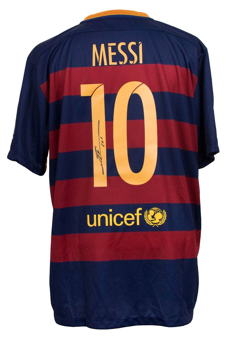 Lionel Messi Signed Nike 2015/2016 Barcelona Home Soccer Jersey 2XL Messi COA PSM-Powers Sports Memorabilia