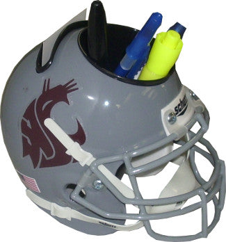 Washington State Cougars (Gray) NCAA Football Schutt Mini Helmet Desk Caddy PSM-Powers Sports Memorabilia