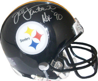 Jack Lambert signed Pittsburgh Steelers Replica Mini Helmet Black Mask HOF 90 (silver sig)- Lambert Hologram PSM-Powers Sports Memorabilia