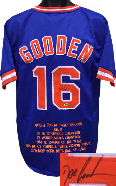 Doc Gooden signed Blue TB Custom Stitched Baseball Jersey w/ Embroidered Stats XL PSM-Powers Sports Memorabilia
