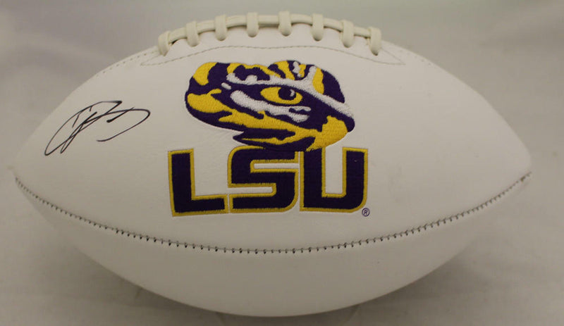 Odell Beckham Autographed LSU Tigers White Panel Logo Football JSA PSM