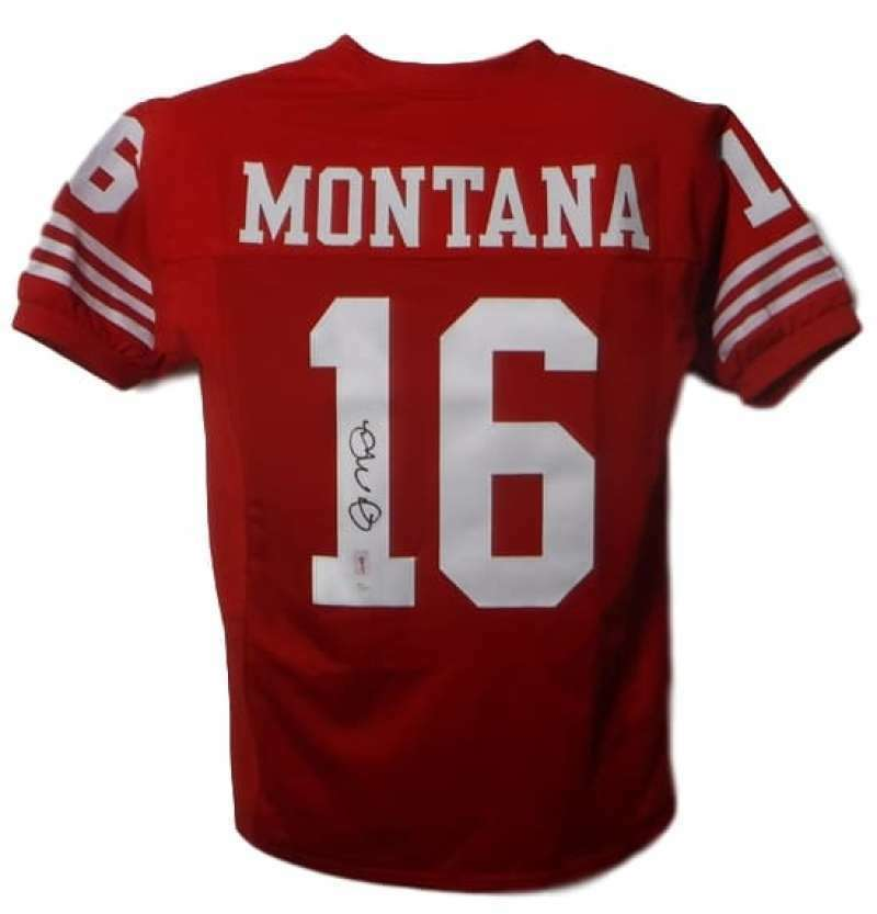 Joe Montana Autographed San Francisco 49ers Size XL Red Jersey (Name Only) JSA PSM