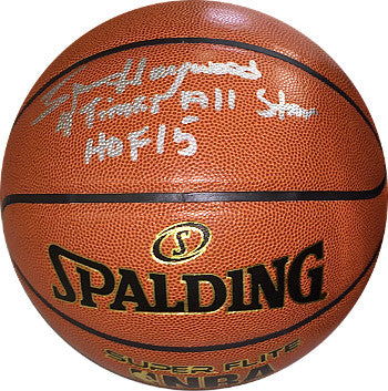 Spencer Haywood signed NBA Indoor/Outdoor Spalding Basketball dual 4 Times All Star/HOF 15 (SuperSonics/Knicks/Lakers-gold logo) PSM-Powers Sports Memorabilia