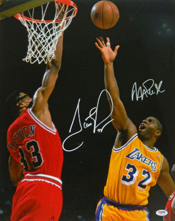 Scottie Pippen signed Chicago Bulls 16x20 Photo dual signed with Magic Johnson- PSA Hologram PSM-Powers Sports Memorabilia