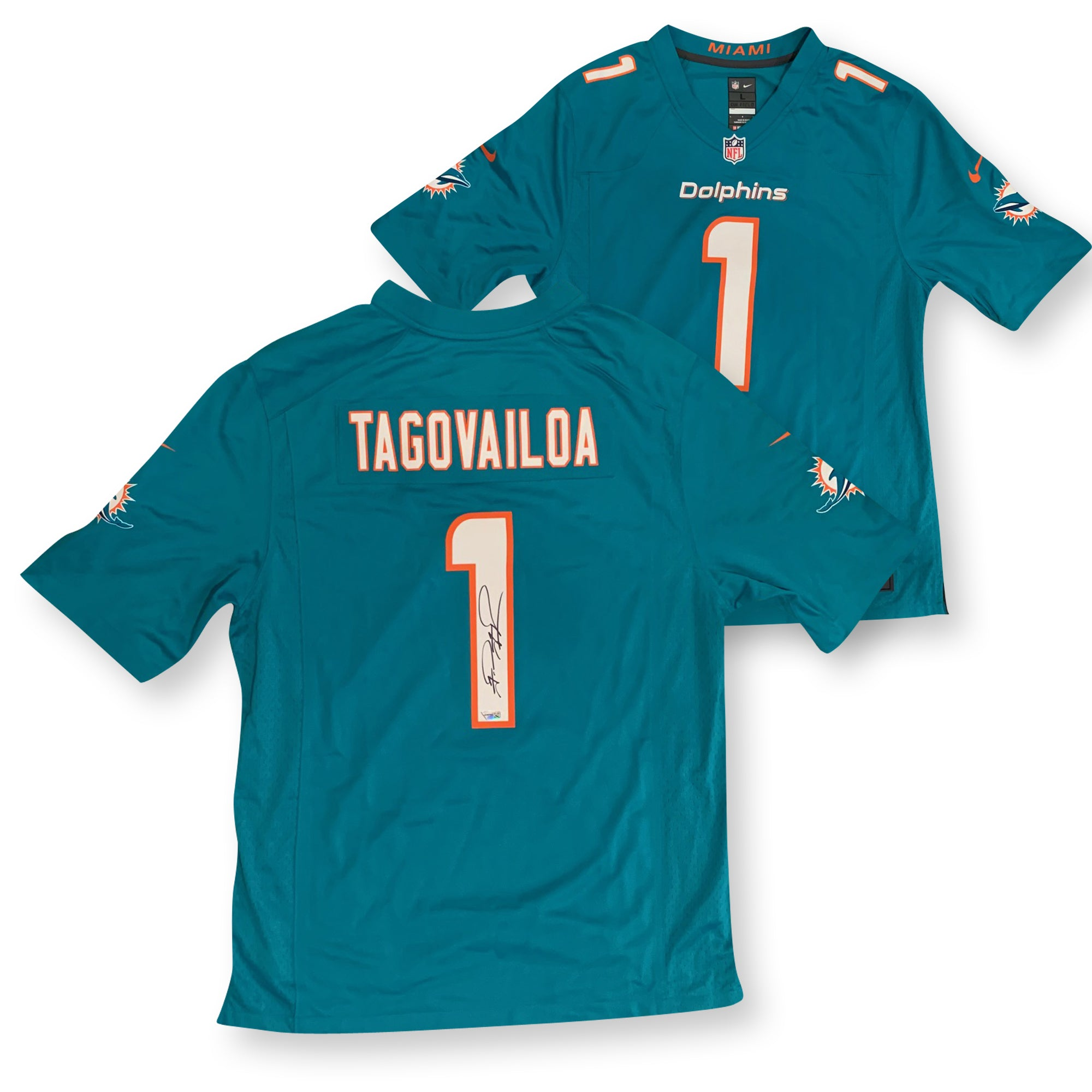 Tua Tagovailoa Autographed Miami Dolphins Signed NFL Nike Game Football Jersey Fanatics Authentic COA-Powers Sports Memorabilia
