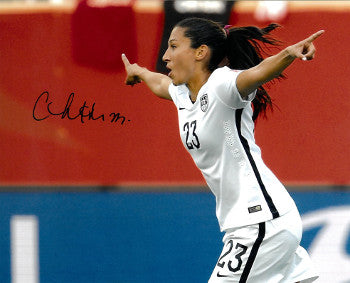 Christen Press signed 8x10 Photo First Goal Team USA vs Australia 2015 World Cup (horizontal-side view)(Women's Soccer Team) PSM-Powers Sports Memorabilia