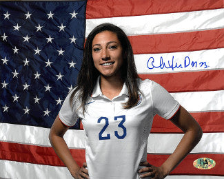 Christen Press signed 8x10 Photo (horizontal-with flag)(Team USA Women's Soccer Team) PSM-Powers Sports Memorabilia