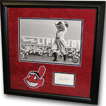 Bob Feller signed Index Card Cleveland Indians 8x10 B&W Photo Custom Framing w/ Patch PSM-Powers Sports Memorabilia