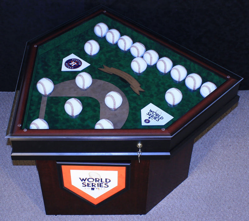 WORLD SERIES 18 BASEBALL HOMEPLATE SHAPED END TABLE-Powers Sports Memorabilia