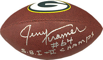 Jerry Kramer signed Green Bay Packers NFL Wilson Brown Logo Football #64 SB I & II Champs PSM-Powers Sports Memorabilia
