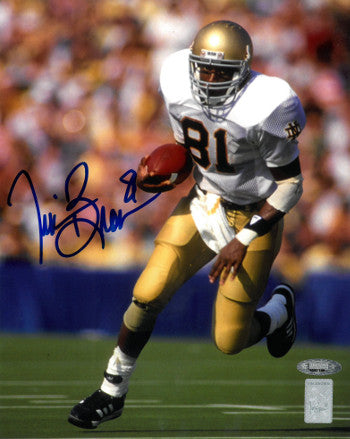 Tim Brown signed Notre Dame Fighting Irish 8X10 Photo (blue sig)- Tri-Star/Brown Holograms PSM-Powers Sports Memorabilia