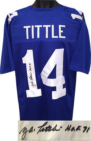Y.A. Tittle signed Blue TB Custom Stitched Pro Style Football Jersey HOF 71 XL- JSA Hologram PSM-Powers Sports Memorabilia