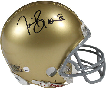 Tim Brown signed Notre Dame Fighting Irish Riddell Mini Helmet #81 (black sig)- Steiner Hologram PSM-Powers Sports Memorabilia