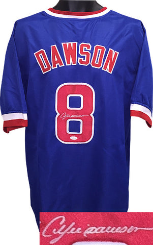 Andre Dawson signed Blue TB Custom Stitched Baseball Jersey XL- JSA Hologram PSM-Powers Sports Memorabilia