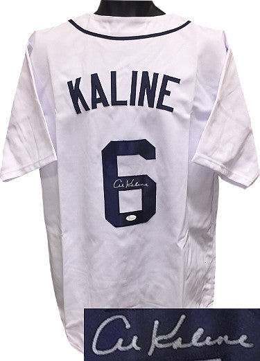 Al Kaline signed White TB Custom Stitched Baseball Jersey XL- JSA Witnessed Hologram PSM-Powers Sports Memorabilia