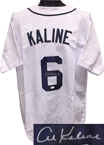 Al Kaline signed White TB Custom Stitched Baseball Jersey XL- JSA Hologram-Powers Sports Memorabilia