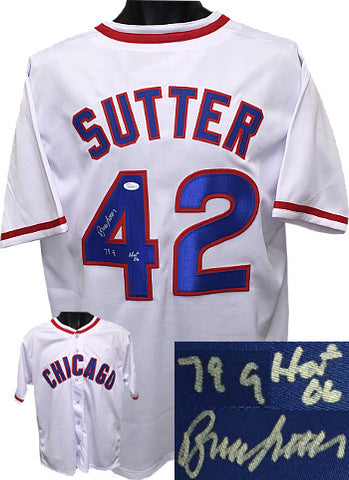 Bruce Sutter signed White TB Custom Stitched Baseball Jersey dual 79 CY & HOF 06 XL- JSA Hologram PSM-Powers Sports Memorabilia