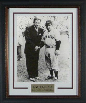 Yogi Berra unsigned New York Yankees Vintage B&W 11X14 Photo Custom Framed V Groove Matting w/ Babe Ruth PSM