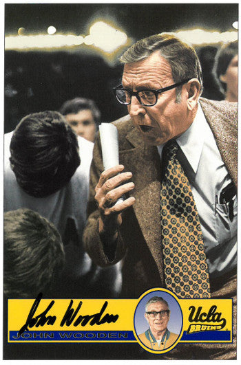 John Wooden signed UCLA Bruins 4X6 Color Photo- JSA Hologram (coaching-deceased) PSM-Powers Sports Memorabilia