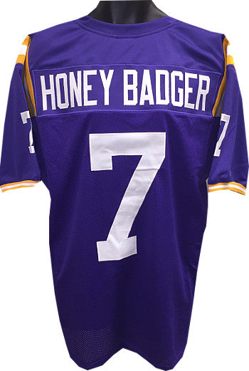 "Tyrann Mathieu ""Honey Badger"" Purple Custom Stitched College Style Football Jersey XL PSM-Powers Sports Memorabilia"