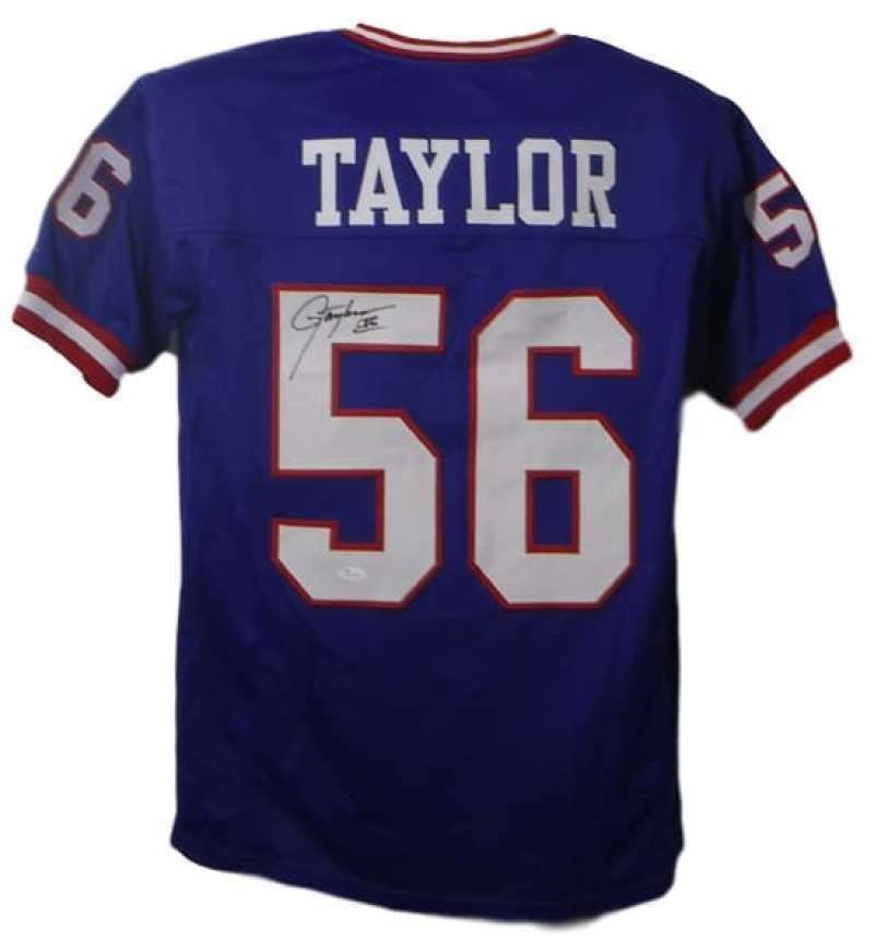Lawrence Taylor Autographed New York Giants Custom Size XL Blue Jersey (Name Only on #5) JSA PSM-Powers Sports Memorabilia