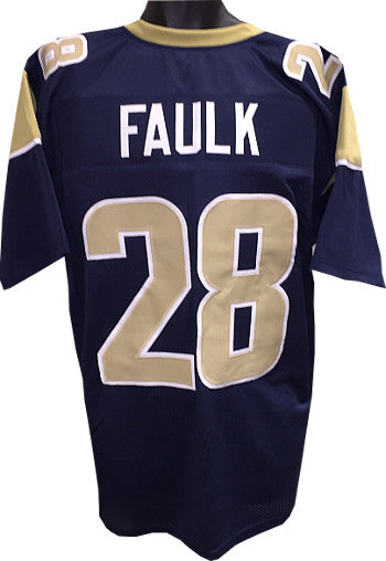 Marshall Faulk Navy & Gold Custom Stitched Pro Style Football Jersey XL PSM-Powers Sports Memorabilia