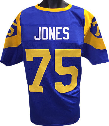 Deacon Jones Blue TB with Yellow #'s Custom Stitched Pro Style Football Jersey XL PSM-Powers Sports Memorabilia