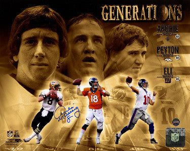 Archie Manning signed Manning Generations 8x10 Photo #8 (New Orleans Saints- Eli/Peyton- Steiner Hologram PSM-Powers Sports Memorabilia