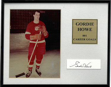 Gordie Howe signed Detroit Red Wings 5x7 Photo w/ Cut Sig- 801 Career Goals- Custom Metal Framed- Beckett Hologram PSM