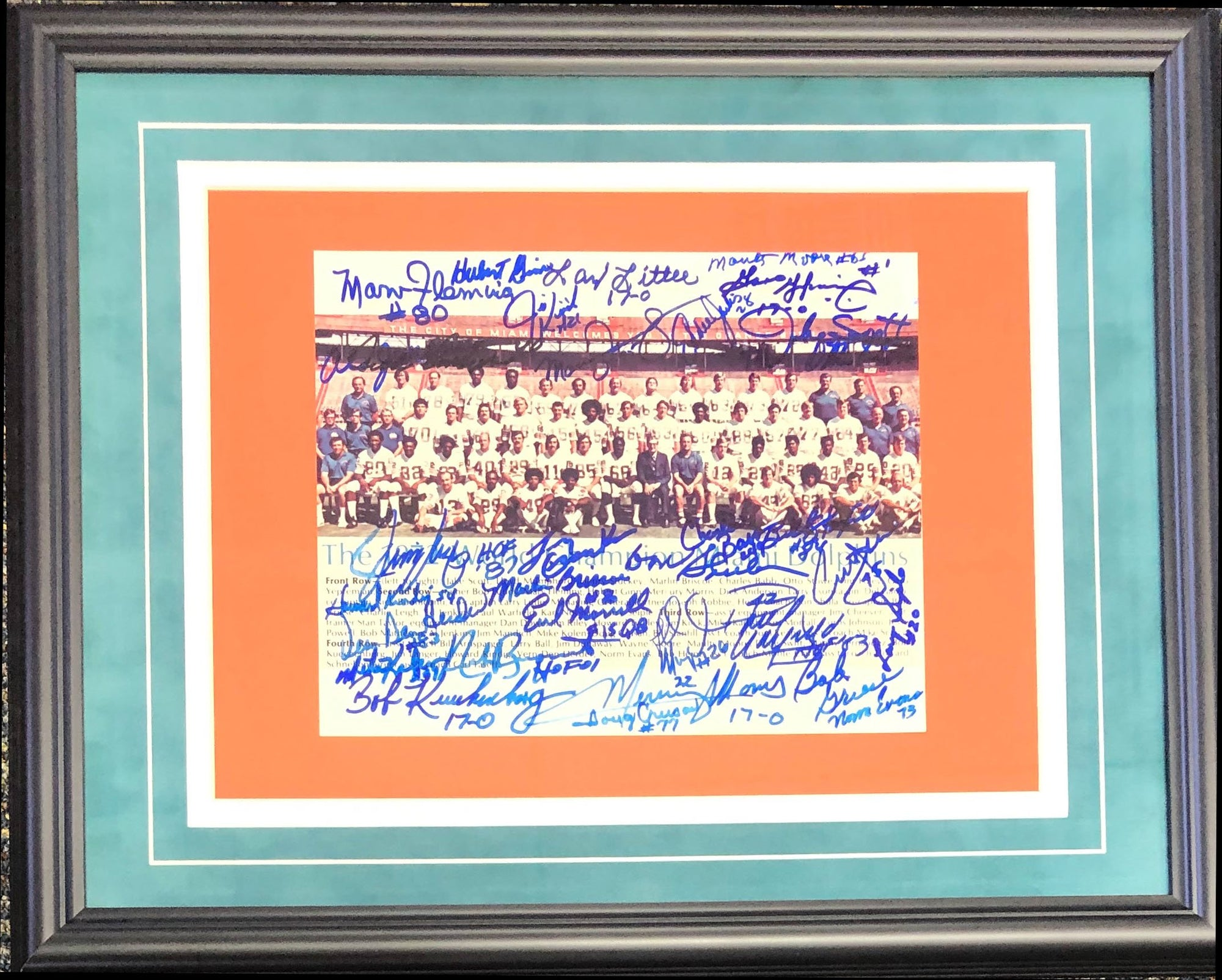 1972 Miami Dolphins Autographed Framed 8x10 Photo PSM-Powers Sports Memorabilia