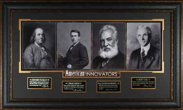 American Innovators unsigned 23x38 4 Photo Engraved Signature Series Leather Framed w/ Franklin, Edison, Bell & Ford (history) PSM-Powers Sports Memorabilia