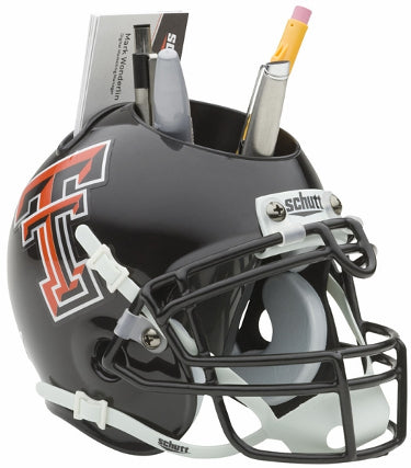 Texas Tech Red Raiders Black NCAA Football Schutt Mini Helmet Desk Caddy PSM-Powers Sports Memorabilia