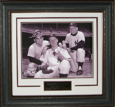 Mickey Mantle, Yogi Berra ,Whitey Ford New York Yankees Vintage B&W 11X14 Photo Premium Leather Framing & V-Groove Matting PSM