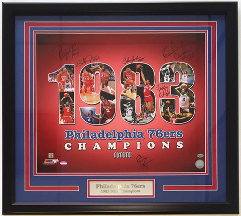 1983 Philadelphia 76ers Team Signed Framed 16x20 Photo SI 6 Signatures PSM-Powers Sports Memorabilia