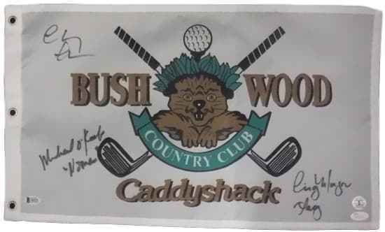 Chevy Chase, Cindy Morgan & Michael O'Keefe Autographed Caddyshack Bushwood Flag JSA PSM-Powers Sports Memorabilia