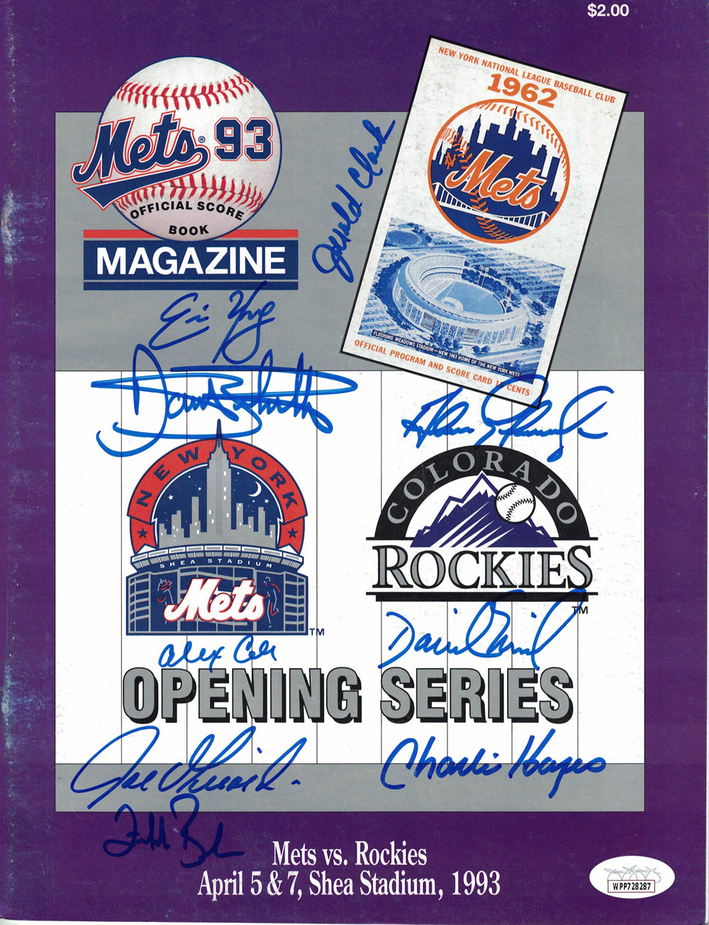 1993 Colorado Rockies Team Signed Opening Day Program vs Mets 9 Sigs JSA PSM-Powers Sports Memorabilia