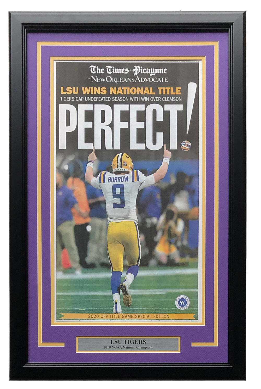 LSU Tigers Framed January 14th New Orleans Advocate Perfect! Newspaper Cover PSM-Powers Sports Memorabilia