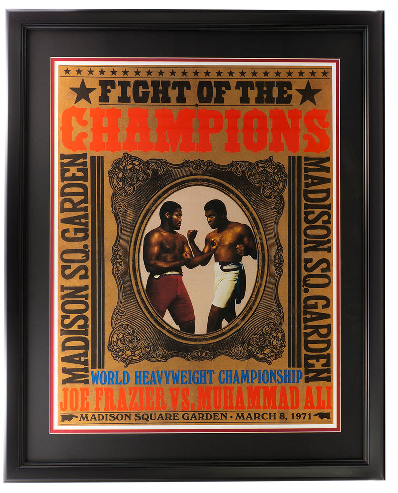 Muhammad Ali vs Joe Frazier Framed 18x24 1971 MSG Replica Fight Poster PSM-Powers Sports Memorabilia