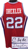 Clyde Drexler signed Red TB College Style Custom Stitched Basketball Jersey XL (w/Blue Trim-signed on both #'s) PSM-Powers Sports Memorabilia