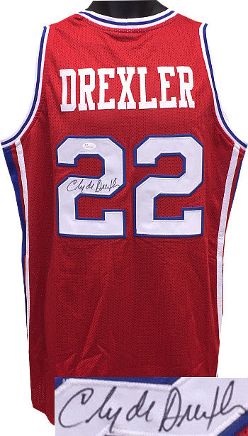 Clyde Drexler signed Red TB College Style Custom Stitched Basketball Jersey XL (w/Blue Trim) PSM-Powers Sports Memorabilia