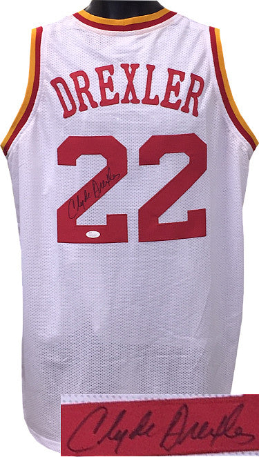 Clyde Drexler signed White TB Custom Stitched Pro Style Basketball Jersey XL- JSA Hologram PSM-Powers Sports Memorabilia
